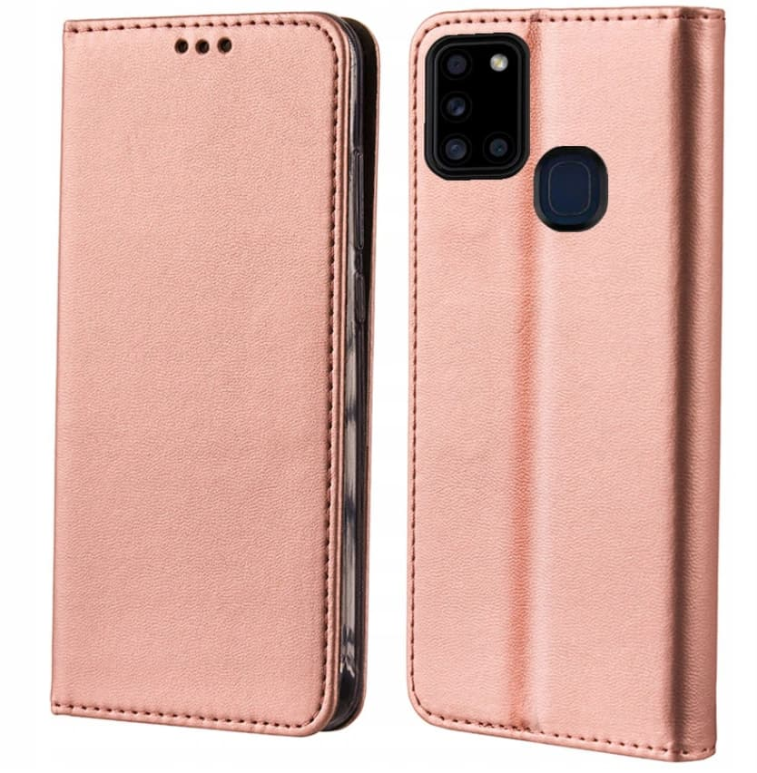 Husa Samsung Galaxy A21s Book FlipCase Magnetic, rose gold